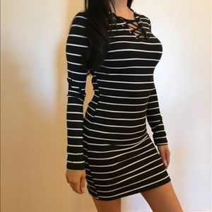 Dresses & Skirts - Lace Up Front Striped Mini Dress